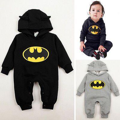 3-24месяцев Новорожденных Мальчиков Одежда Детская Бэтмен Ползунки Наряды 2 Цвета