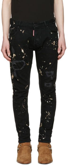 DSQUARED2 Black Tidy Biker Acid Wash Jeans