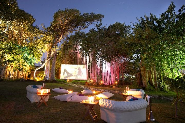Outdoor cinema set up at LUX* Grand Gaube