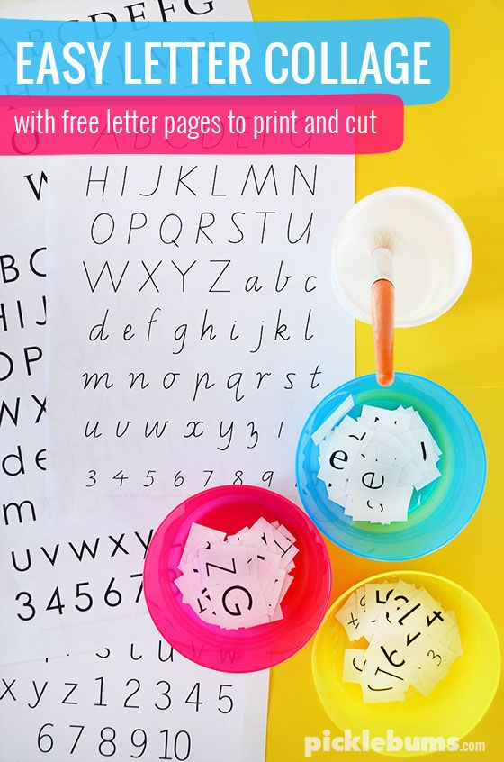 Easy Letter Collage - download an print our free letter pages and try this…