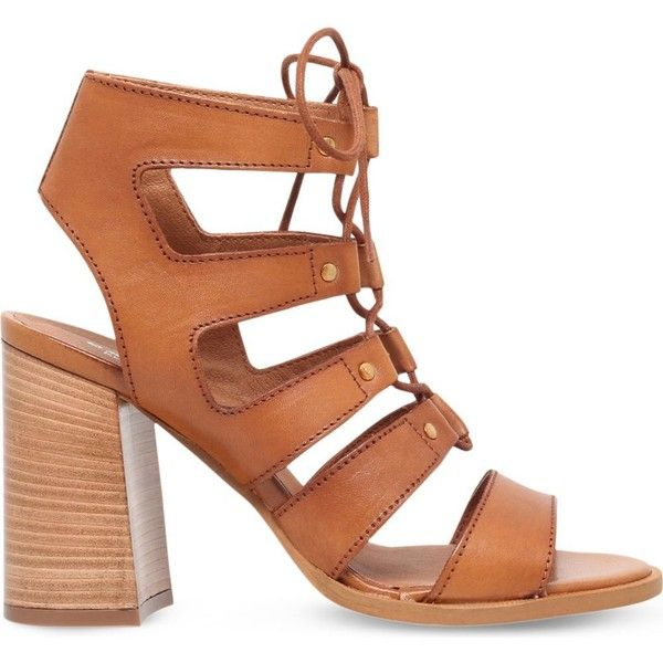 CARVELA Kandice leather heeled sandals ($145) ❤ liked on Polyvore featuring shoes, sandals, tan, stacked heel sandals, open toe sandals, open toe high heel shoes, tan shoes and lace up high heel shoes