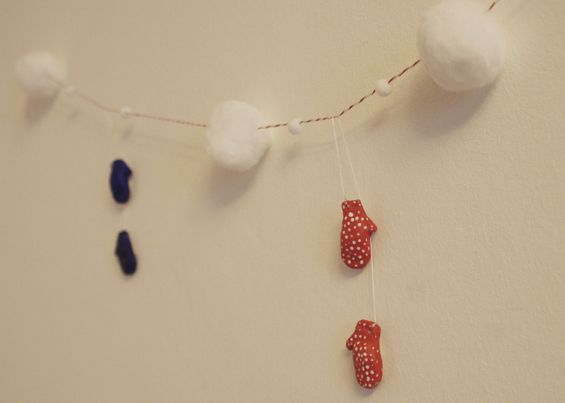 Garland Made from Tiny Salt Dough Mittens   51 Hopelessly Adorable DIY Christmas Decorations