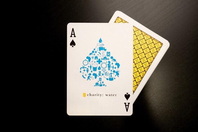 charity: water playing cards - 100% of proceeds derived from sale of this deck will go directly to charity: water operations.