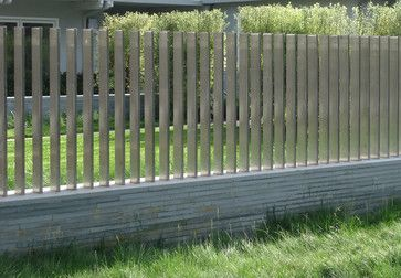 stainless steel slat fence on a brick or stone short wall  Woodside Residence - Suzman Design Associates