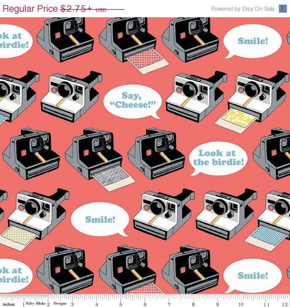Geekly Chic Collection by Amy Adams for Riley Blake Fabrics - Vintage Polaroid Cameras on coral