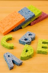 Sponge Stamps:  Cut out letters from a sponge and allow students to dip in paint to create words on paper or simply create words with the sponge letters.