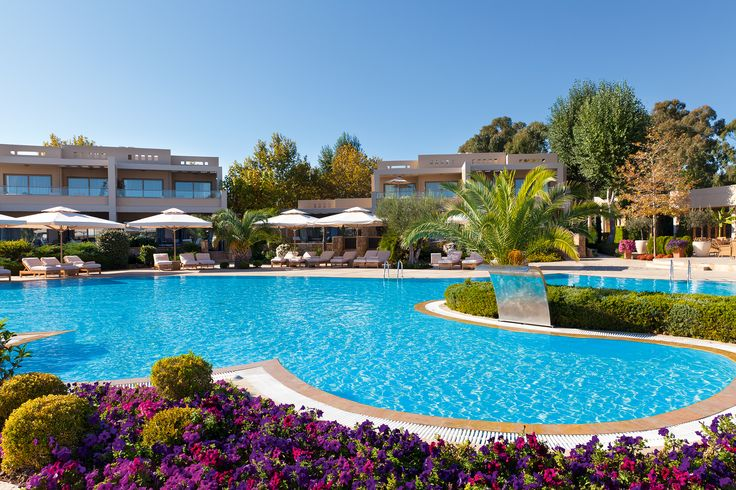 Different shades of purple and fuchsia flowers decorating Sani Asterias Suites pool. Location: Halkidiki, Greece