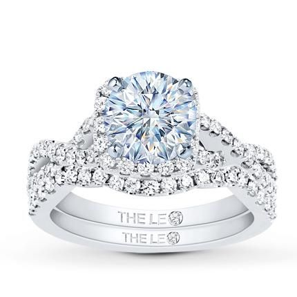 Leo Diamond Bridal Setting 3/4 ct tw Round-cut 14K White Gold