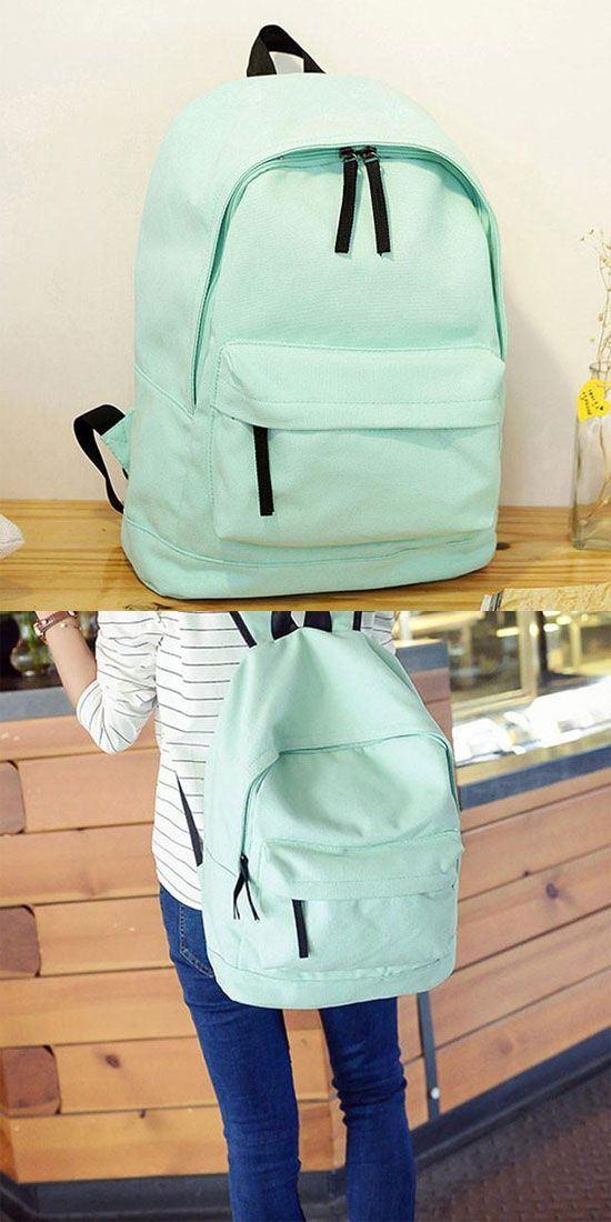90ad6b7e2e Simple Pure Color Solid Rucksack School Bag For Girl Canvas Backpacks   backpack  Bag  school  college