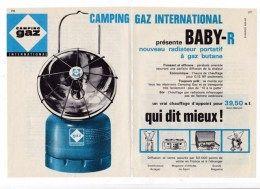 "Pub.1961 Camping Gaz International  BABY-R  radiateur  à gaz butane "" Qui dit mieux ! ""   TBE"