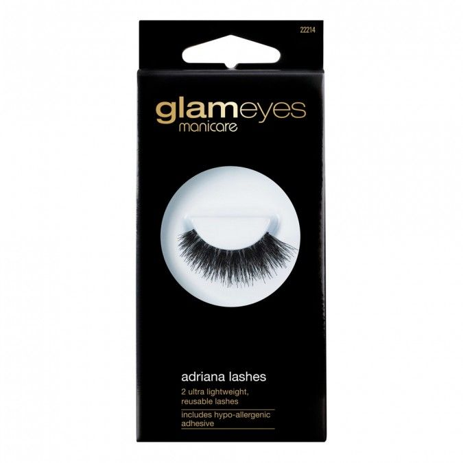 Glameyes lashes are perfectly shaped to accentuate your eyes & enhance volume & length. Made from 100% natural hair, glameyeslashes are reusable to create instant glamorous eyes. Includes hypo-allergenic adhesive - goes on white, dries clear.
