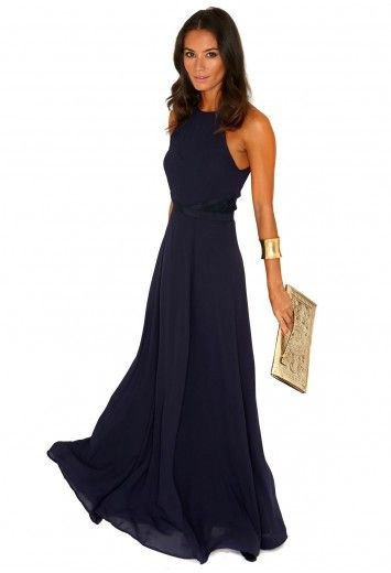 Missguided kamilinka side lace open back maxi dress in for Navy blue maxi dress for wedding