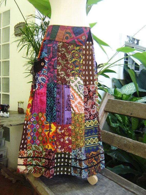 PATCHWORK Boho Gypsy A Shape Long Skirt by fantasyclothes on Etsy, $54.00