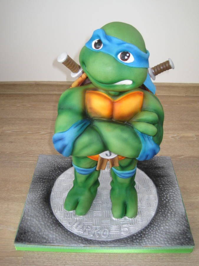 I Start Baking For A Long Pause Because I Have Eight Month Twins 3d Leonardo Is Only Cake Witho Ninja Turtle Cake Ninja Turtle Cake Topper Ninja Birthday Cake