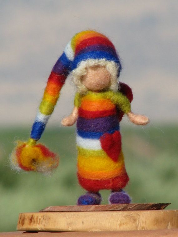 Needle felted Waldorf inspired Rainbow elf with by Made4uByMagic