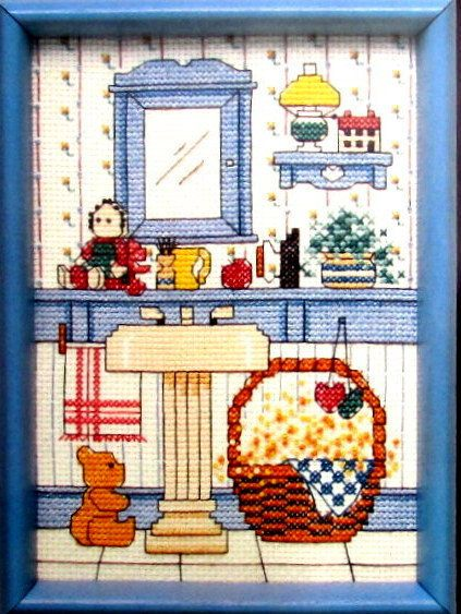 """CROSS STITCH KIT//""""Country Bath"""" by Dimensions. a Country Style Bath Decorated with Plants/Rag Doll/Basket of Towels/Plants//Was (16.50)Now!"""