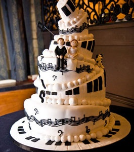 This will be my wedding cake. but where the music notes are instead of them being black they will be purple (: