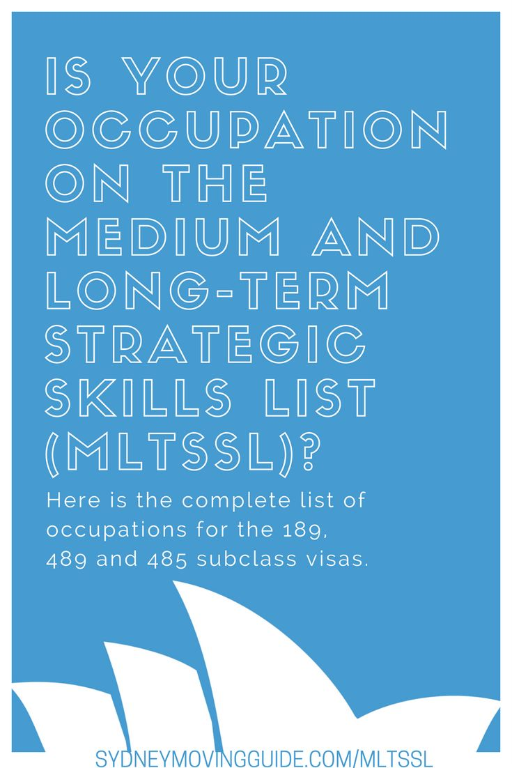 If you are applying for a 189 visa, 485 visa or a 489 visa, your occupation must be on the Medium and Long-Term Strategic Skills List (MLTSSL). In this post I explain more plus explain the difference between the MLTSSL and the STSOL for sponsorship visas. #expat #overseas #moving #australia #aboard #lifeabroad  http://sydneymovingguide.com/mltssl