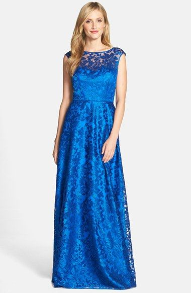 Free shipping and returns on Aidan Mattox Embroidered Tulle & Charmeuse Ballgown at Nordstrom.com. This illusion-yoke ballgown shimmers with an airy yet heavily embroidered tulle overlay in a bright cerulean shade of blue that's at once regal and utterly modern.
