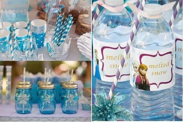 vasos y botellas para el cumpleaños temático