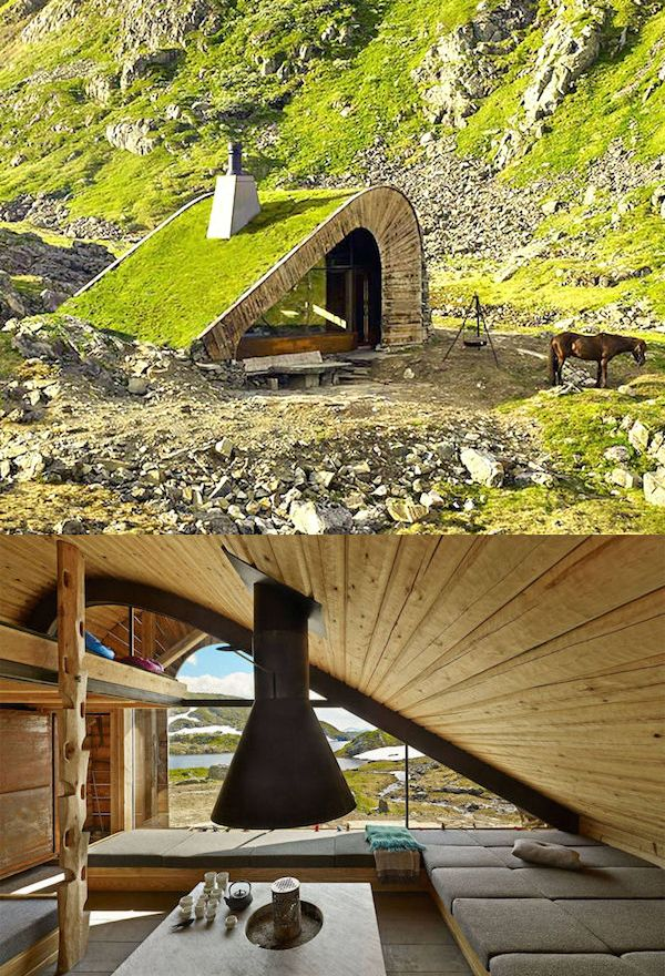 A cabin hidden in the remote mountainside of Norway that can hold 21 people