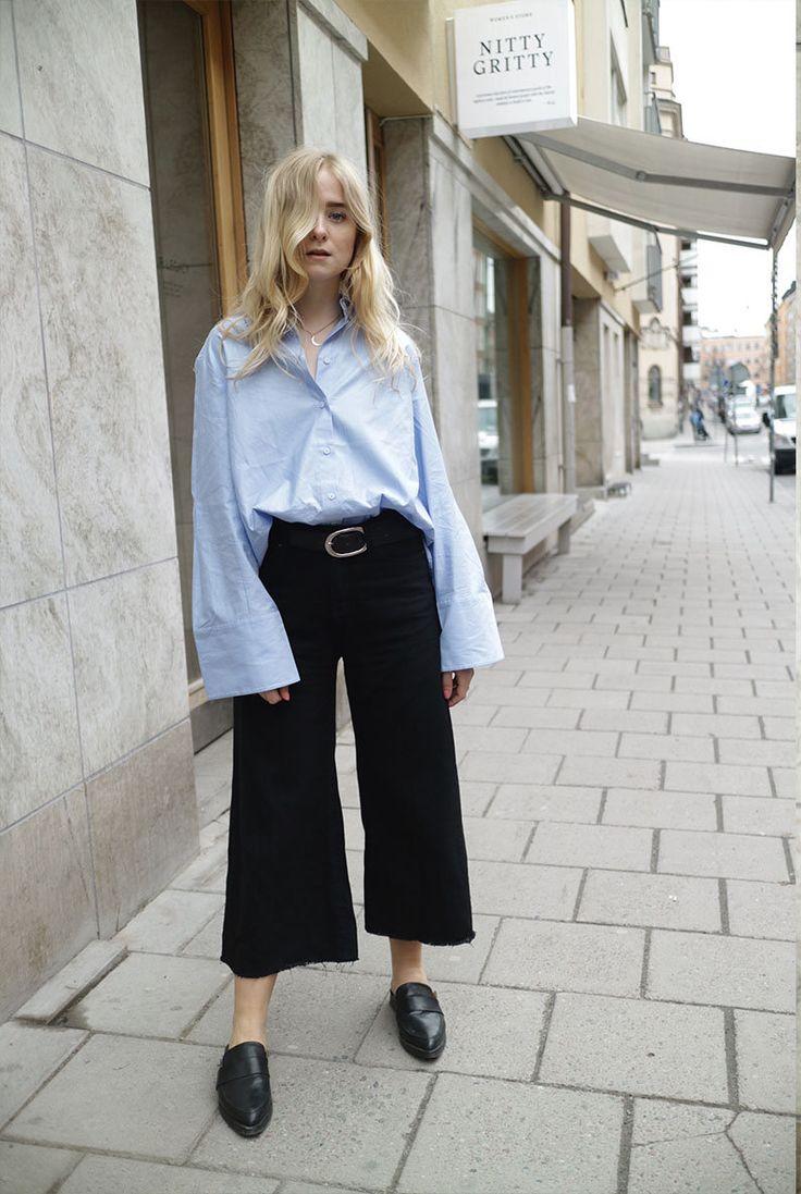 Blue shirt, black wide-leg cropped trousers & black mules   @styleminimalism