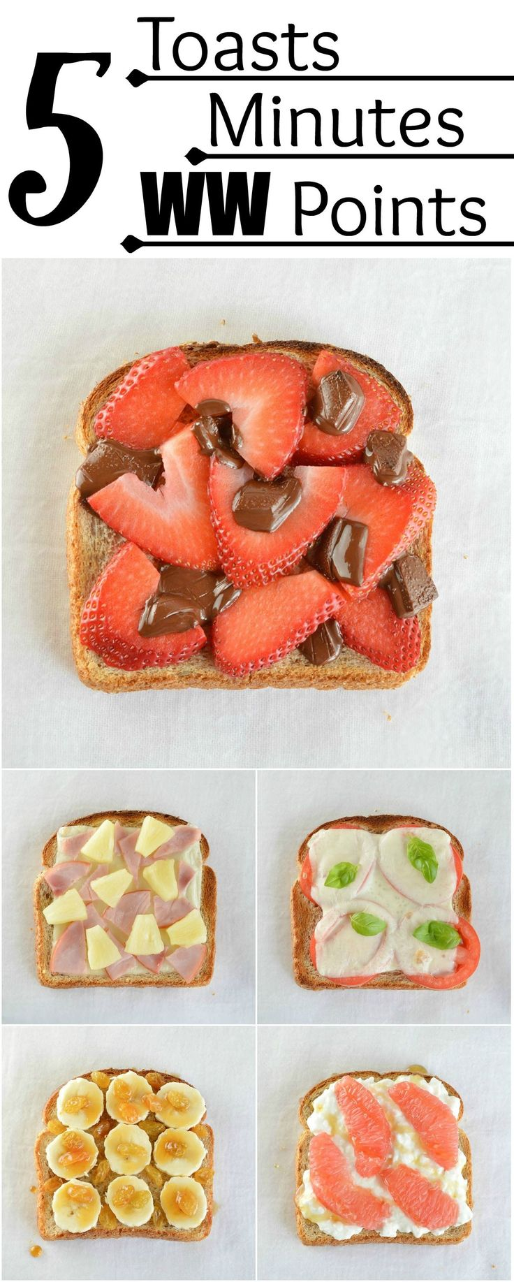 These 5 Minute Healthy Snack Ideas will help you stay on track! 5 toast ideas ready in 5 minutes or less. All are 5 Weight Watchers Points or less! #WeightWatchers @weightwatchers #WWSponsored