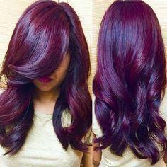 coiffure cheveux rouge teinture coloration recherche cheveux violet cheveux prune cheveux bordeaux cheveux bruns - Coloration Prune Exquise