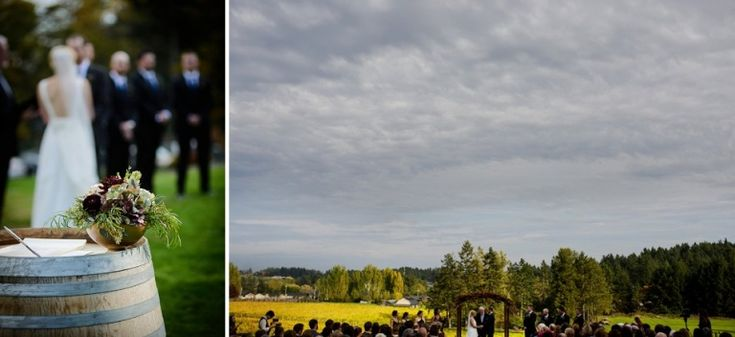 The vineyard in its autumn colors as a backdrop for Jane & Bryan's Church & State