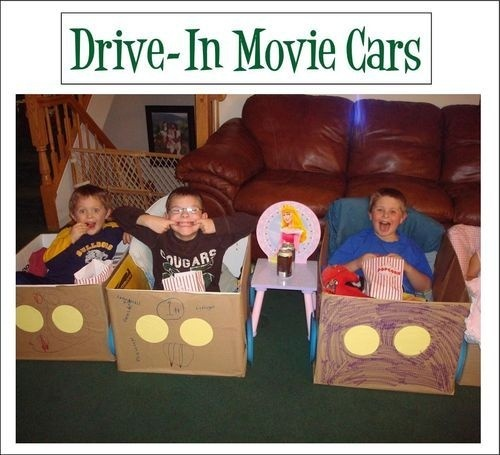 Drive-in movie prep; fun idea for kids. Great way to encourage their imaination
