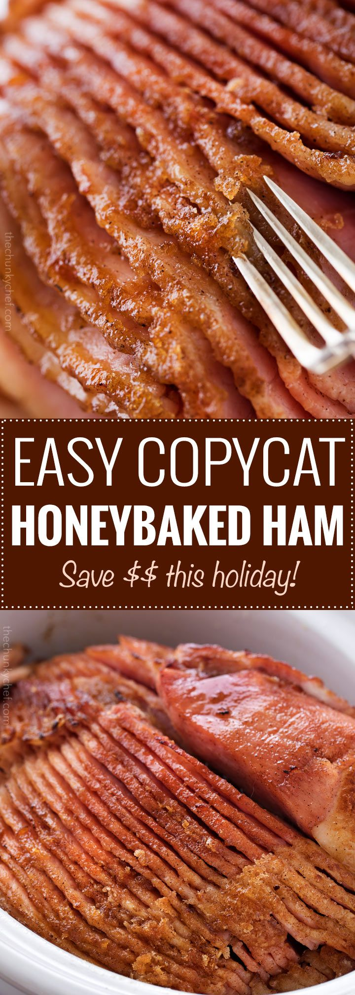 Copycat HoneyBaked Ham - Bake or fix in the crockpot.  It is succulent and tender, with the most amazing crispy sweet glaze.  Made with honey, sugar, and plenty of mouthwatering spices