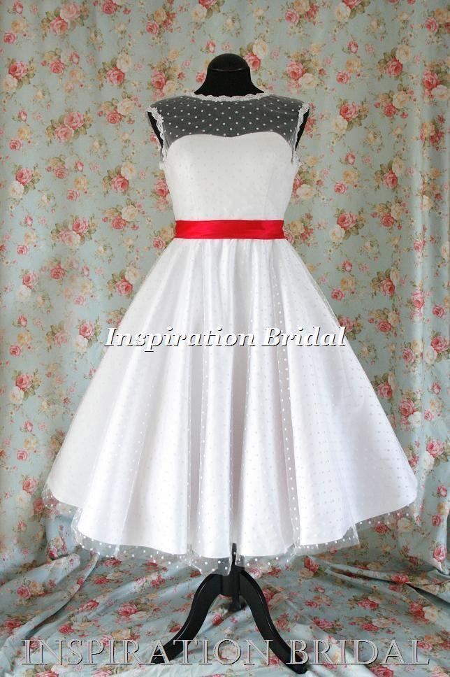 Uk 1364 short wedding dress tea length knee polka dot short 50s 60s retro sash