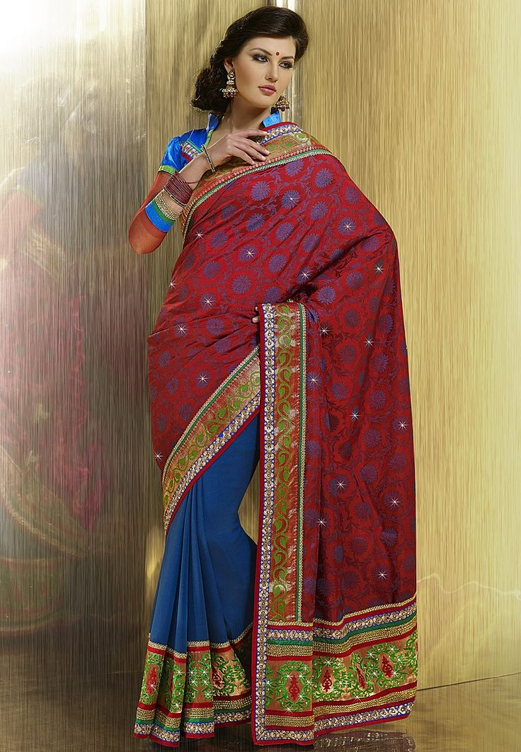 Embellished Red Saree at $180.12 (24% OFF)