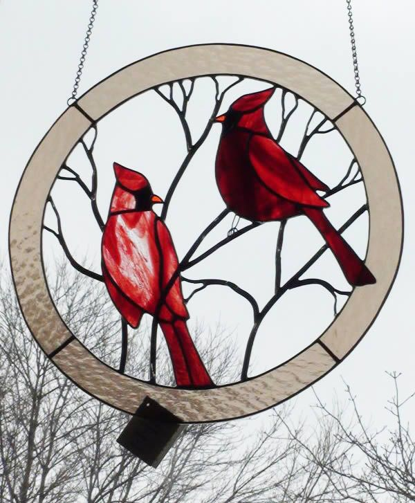 Large Cardinals Circle Stained Glass Panel for the Window  Either the center is open or this is painted glass...