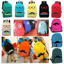 Women Men Fashion Cute Funny Canvas Mustache School Book Campus Bag Backpack NEW