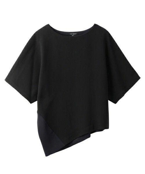 INDIVI(インディヴィ)のアシンメトリーヘムボートネックカットソー(Tシャツ/カットソー) ブラック