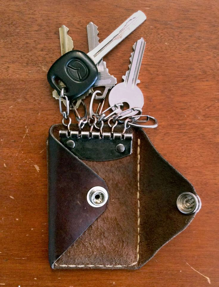 DIY simple leather pocket wallet and key