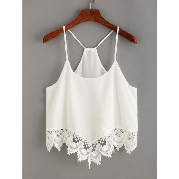 Lace Trimmed Racerback Chiffon Cami Top (33.275 COP) ❤ liked on Polyvore featuring tops, crop top, shirts, white, white cami, white crop shirt, white crop tank top, white shirt and racerback tank