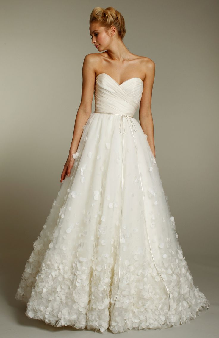 Ivory A Line Wedding Dress With Sweetheart Neckline And Embellished Skirt Jim Hjelm Fall