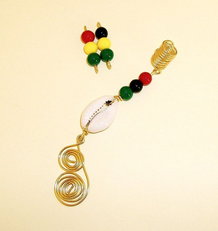 Dreadlock Jewelry - Golden Swirl Rasta - Caribbean Flair Loc Jewel by TumbleGems on Etsy