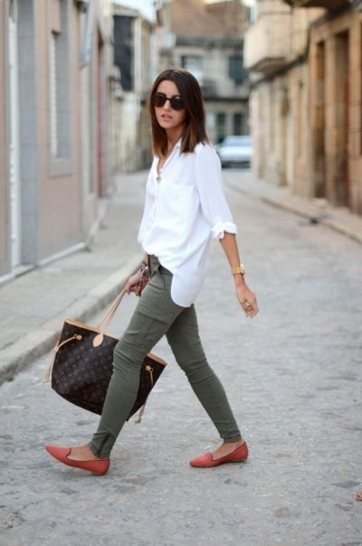 Army green pants, crisp white button up, louis vuitton tote and red flats...relaxed chic