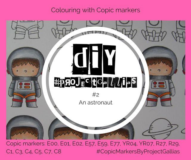 ProjectGallias :  Copic Tutorial - How to color and shade an astronaut using Copic markers -  Jak pokolorować i pocieniować astronautę z użyciem markerów Copic. #projectgallias, #copicmarkersbyprojectgallias, tutorial, DIY, copic markers, kolorowanie, coloring, copic DIY, howto, astronauta