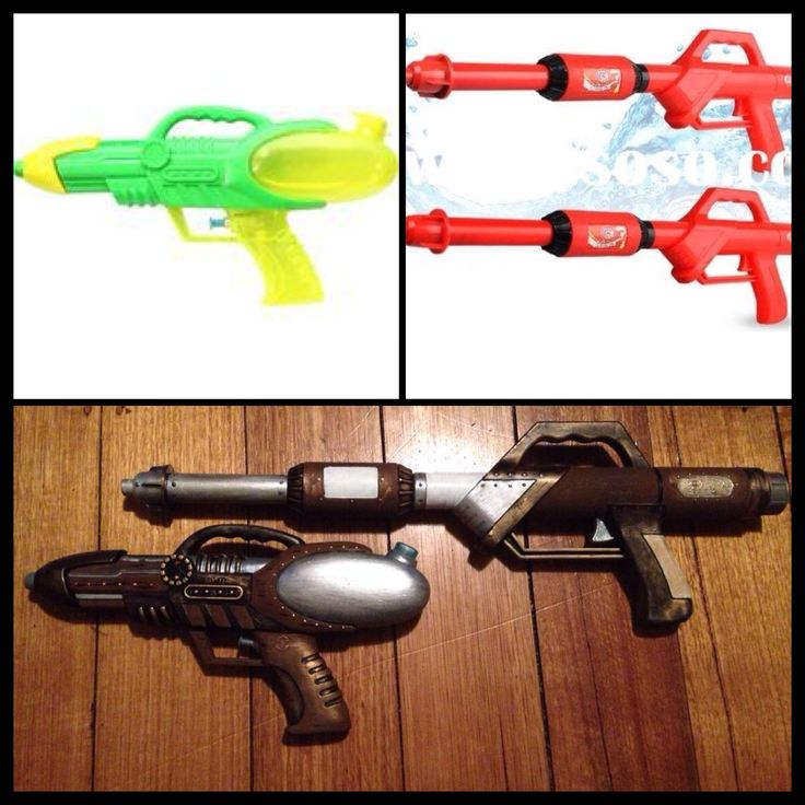 Took cheap water guns and turned them into pretty steampunk pistols!
