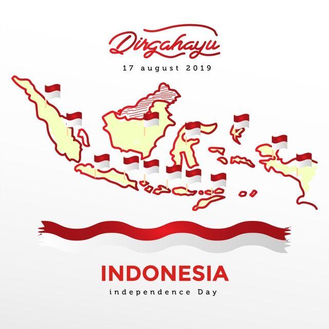 Indonesia Hari Kemerdekaan Dengan Peta Semua Pulau Dan Bendera Indonesia Hari Kemerdekaan Bendera Lambang Negara