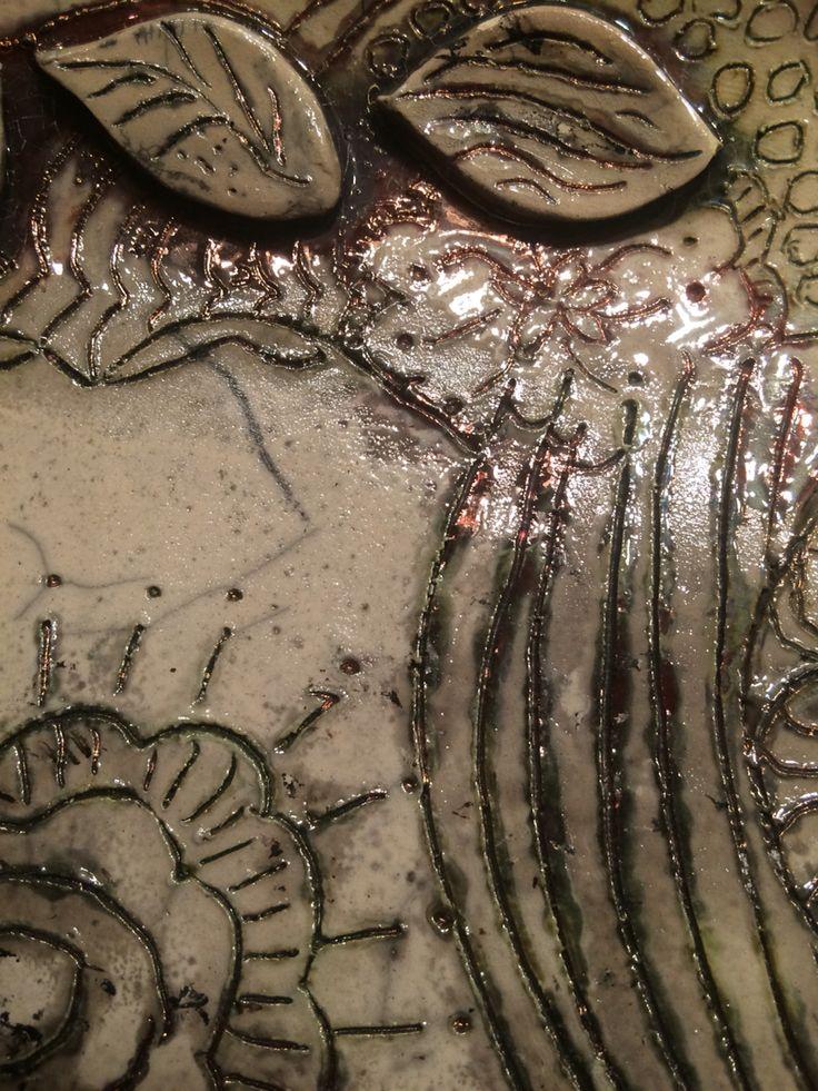 Raku plate, detail