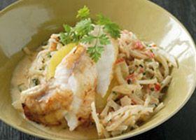 Zeeduivel met witte kool, tomaat en mosterd recept | Solo Open Kitchen