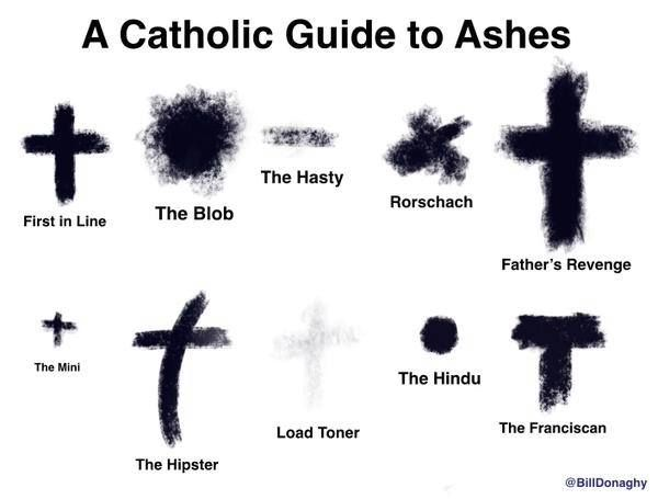 All the Catholics here in Louisiana have probably gotten each of these on Ash Wednesday at some point!