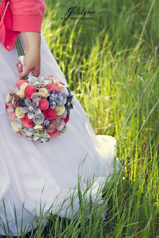 Paper Wedding Bouquet. Different styles of flowers, different colors, wrapped stems.