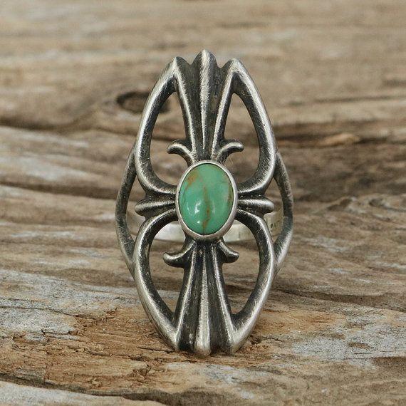 inheemse Amerikaanse juwelen, turquoise ring, native american, turquoise ringen, turkoois, ring, navajo sieraden, Vintage Navajo zilver & Turquoise Ring