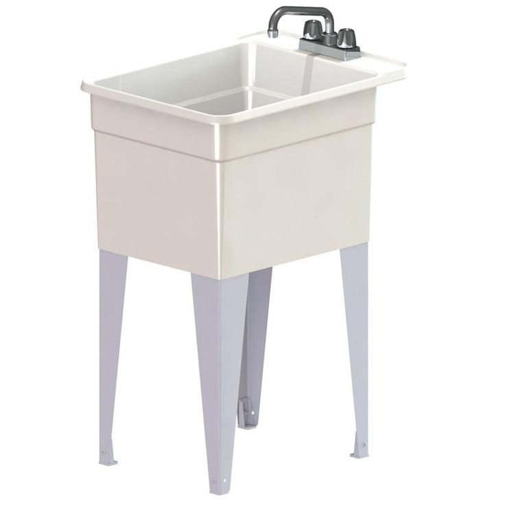 MUSTEE Utilatub Combo 24 in. x 18 in. Polypropylene Floor Mounted Laundry Tub in White